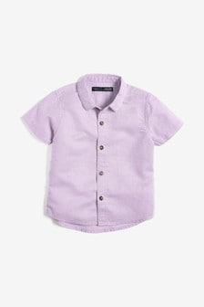 Short Sleeve Linen Blend Shirt (3mths-7yrs)