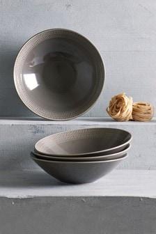 Set of 4 Kala Embossed Pasta Bowls