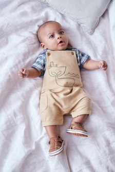 Organic Cotton Whale Dungaree and Bodysuit Set (0-18mths)