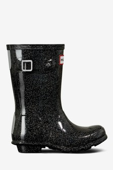 Hunter Black Glitter Original Welly