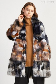 French Connection Blue Faux Fur Coat