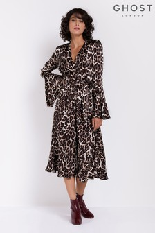 d060294835ef7 Ghost London Leopard Annabelle Fluted Sleeves Satin Dress