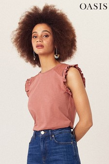 Oasis Pink Casual Broderie Top