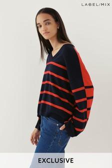 Next/Mix Stripe V-Neck Knit