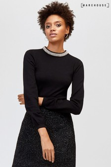Warehouse Black Bead Embellished Neck Jumper