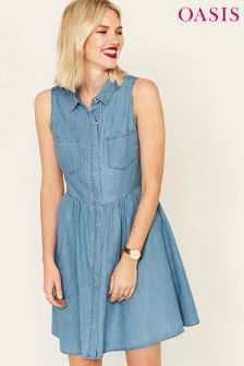 Oasis Blue Pretty Skater Shirt Dress