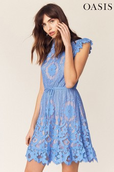 Oasis Blue Lace Skater Dress