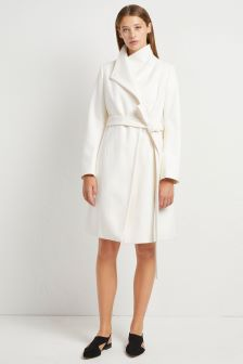 French Connection Cream Classic Belted Coat