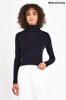 Whistles Annie Sparkle Polo Knit Jumper