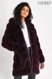 Lauren Ralph Lauren Burgundy Luxe Faux Fur Coat
