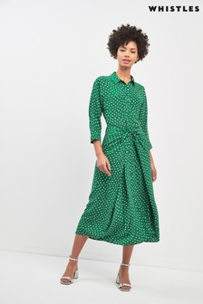 Whistles Abstract Spot Print Selma Tie Dress
