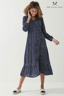 Crew Clothing Company Blue Button Front Smocked Dress