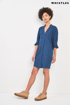 Whistles Sonia Denim Frill Cuff Dress