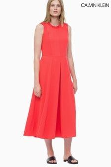 Calvin Klein Red Smooth Twill Button Dress