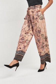Paisley Print Wide Leg Belted Trousers