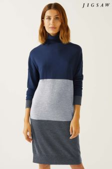 Jigsaw Blue Blocked Jumper Dress
