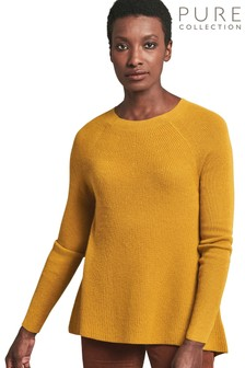 Pure Collection Yellow Cashmere Ribbed Swing Sweater