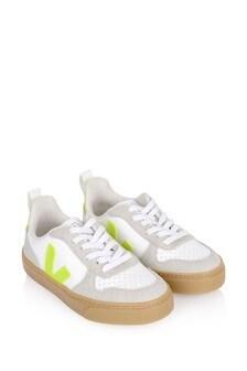 Kids White/Neon Yellow V-10 Trainers