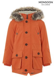 Monsoon Oliver Orange Parka Coat