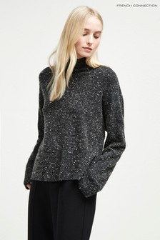 French Connection Black Fleck High Neck Jumper