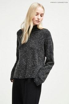 French Connection ブラック 霜降りハイネックセーター