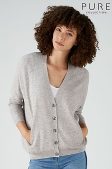 Pure Collection Grey V-Neck Raglan Curved Hem Cardigan