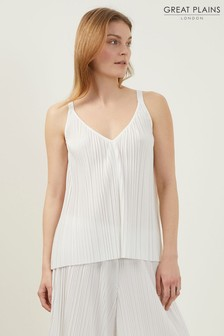 Great Plains White Paola Pleat Strappy Cami Top