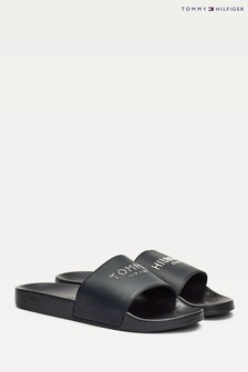 Tommy Hilfiger Blue Glitter Pool Sliders
