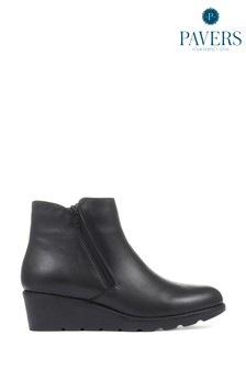 Pavers Black Leather Ladies Wedge Ankle Boots