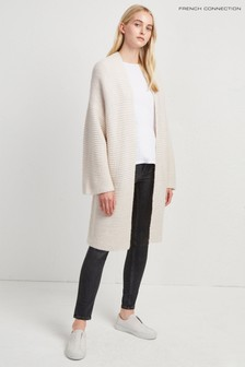 French Connection Cream Knitted Longline Cardigan