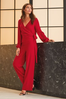 Wrap Top Long Sleeve Jumpsuit