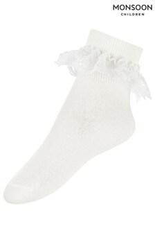 Monsoon Ivory Girls Rose Lace Socks