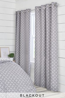 Micro Geo Blackout Eyelet Curtains