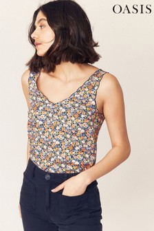 Oasis Natural Ditsy Floral Scallop Top