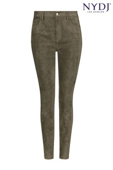 NYDJ Martini Olive Alina Legging Skinny Ankle Faux Suede Jeans