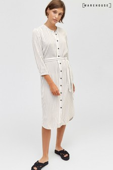 Warehouse White/Black Half Sleeve Stripe Shirt Dress