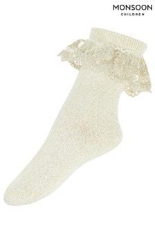 Monsoon Gold Girls Sparkle Scallop Lace Socks