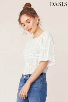 Oasis White Peyton Pointelle Top