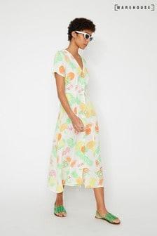 Warehouse Natural Fruit Salad Cut Out Midi Dress