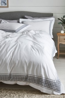 Pretty Embroidered 100% Cotton Duvet Cover And Pillowcase Set