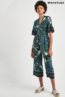 Whistles Palm Print Tie Front Jumpsuit