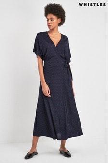 فستان جيرسيه أزرق داكن منقط ملفوف من Whistles