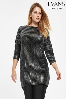 Evans Black Stripe Sparkle Tunic