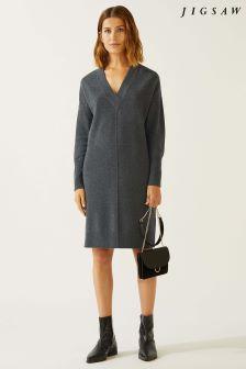 Jigsaw Grey Felted Wool V-Neck Dress