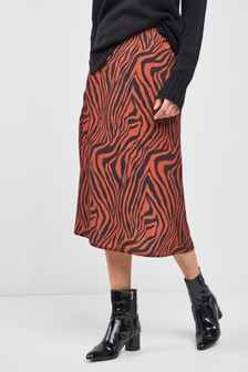 Animal Zebra Print Midi Skirt