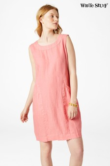 White Stuff Red Ada Linen Pinny Dress