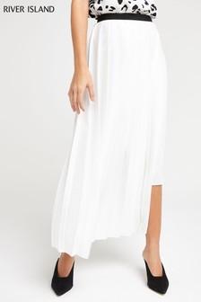 River Island White Pleat Midi Skirt
