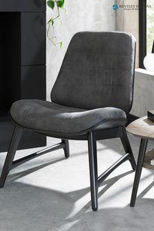Vintage Weathered Oak Casual Chair in Dark Grey Fabric by Bentley Designs