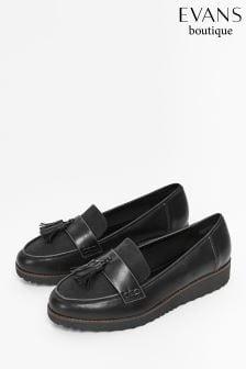 Evans Black Extra Wide Fit Tassel Loafer