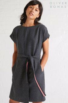 Oliver Bonas Grey Feel Fleck Wool Tie Waist Dress